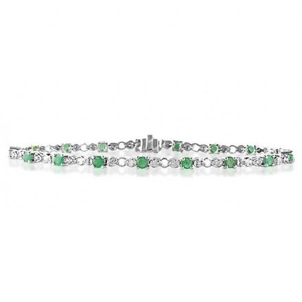 18K White Gold 0.17ct Diamond & Emerald Bracelet, H1129